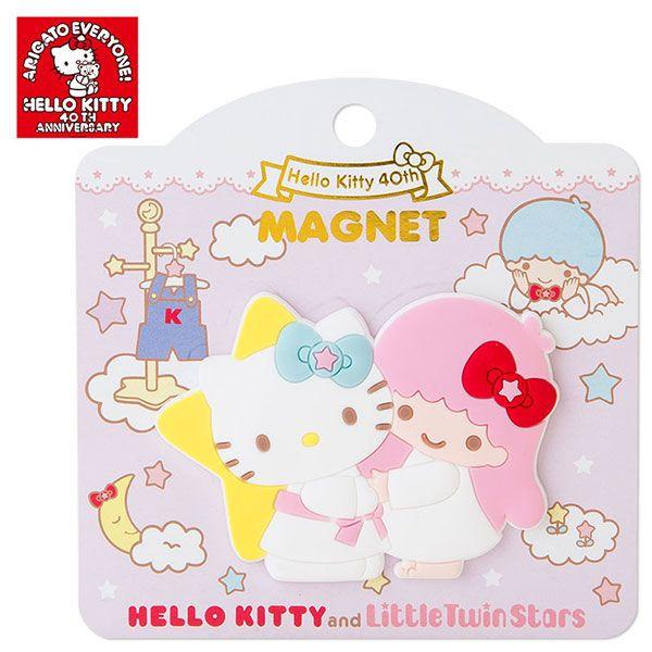 【唯愛日本】14101700036 40th造型磁鐵-KT擁抱TS 三麗鷗 Hello Kitty 凱蒂貓 文具