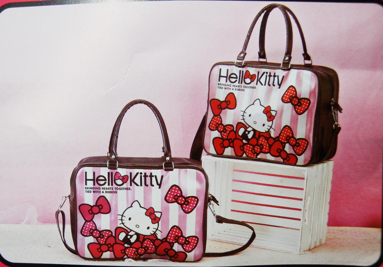 【唯愛日本】14102100013 揹提兩用包-條紋蝴蝶結紅 三麗鷗 Hello Kitty 凱蒂貓 外出包 流行包
