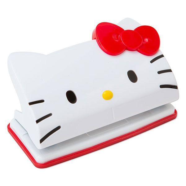 【唯愛日本】14102400036 造型雙孔打洞器-大臉紅結 三麗鷗 Hello Kitty 凱蒂貓 文具 打洞機