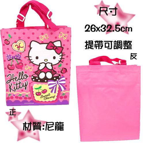 【唯愛日本】14123000008  寬底手提袋-KT櫻桃粉 三麗鷗 Hello Kitty 凱蒂貓  手提袋 包包 手拿袋