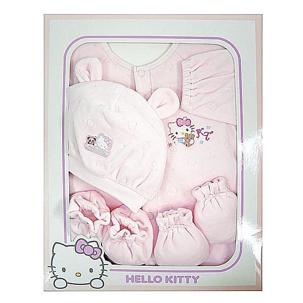 【唯愛日本】15010100001  兩用裝禮盒-電繡衣帽手套組  三麗鷗 Hello Kitty 凱蒂貓  嬰兒用品