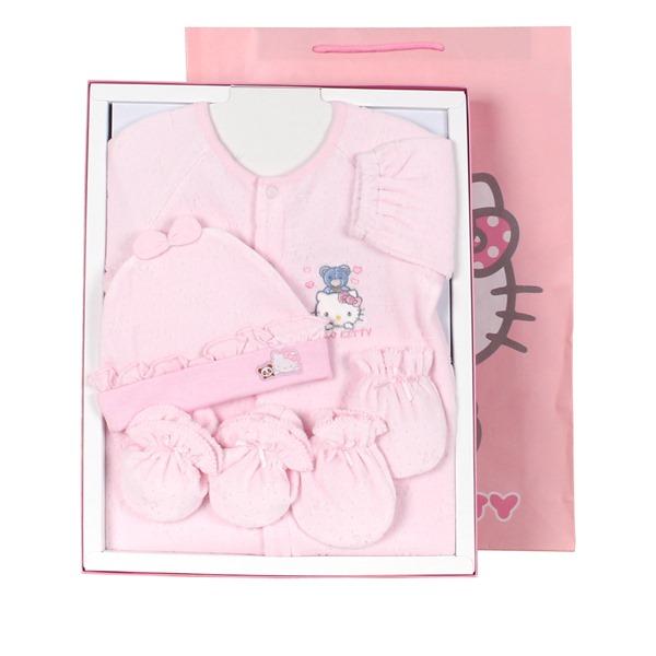 【唯愛日本】15012900002 兩用裝禮盒組-滿版蝴蝶結紋 三麗鷗 Hello Kitty 凱蒂貓 嬰兒用品 嬰兒禮盒 正品