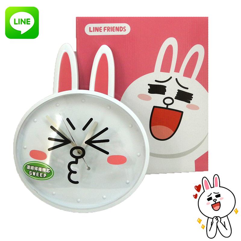 【唯愛日本】15013000017 LINE個性掃秒掛鐘-兔兔臉 LINE公仔 饅頭人兔子熊大 壁鐘 時鐘 正品