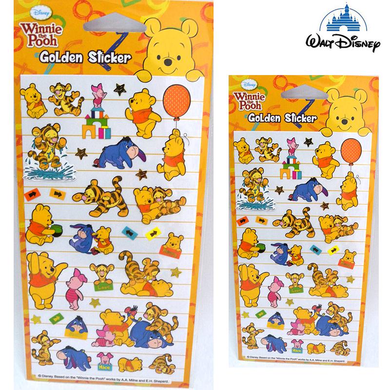 【唯愛日本】15021400008 彩色燙金貼紙-維尼 迪士尼 小熊維尼 POOH 維尼熊 文具 正品 限量