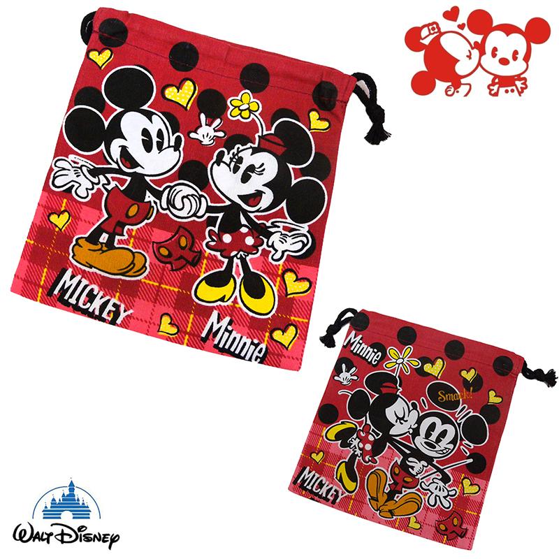 【唯愛日本】15021400048 束口袋S-米奇米妮 迪士尼 米老鼠米奇 米妮 收納袋 正品 限量