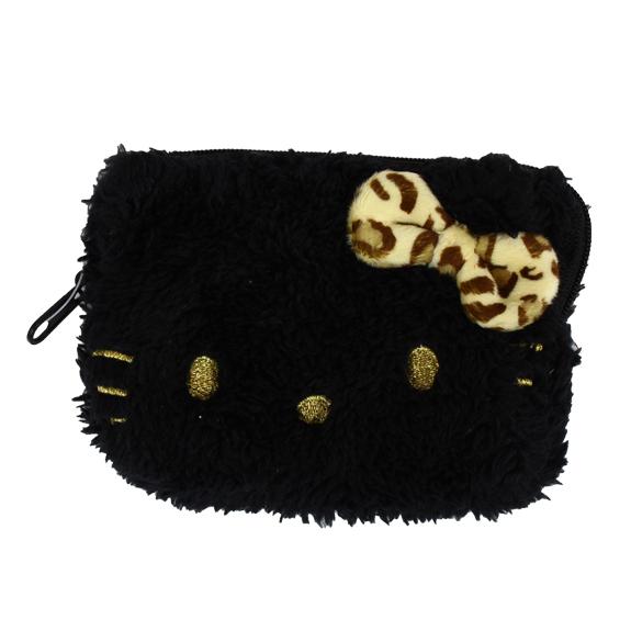 【唯愛日本】15022500009四方錢包-豹紋蝴蝶結黑大臉 三麗鷗 Hello Kitty 凱蒂貓 收納包 正品 限量
