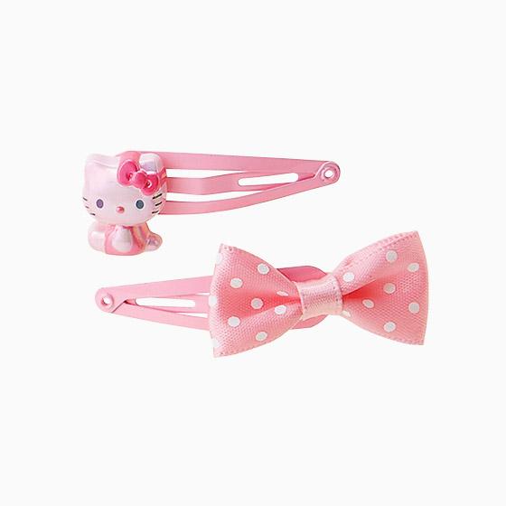 【唯愛日本】15022600073 造型劈啪髮夾組-KT點點粉 三麗鷗 Hello Kitty 凱蒂貓 髮飾 飾品 正品 限量