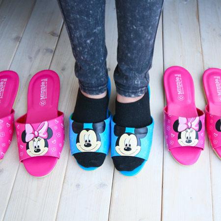 【真愛日本】15030300008 MK皮拖-藍24-27 迪士尼 米老鼠米奇 米妮 居家鞋 拖鞋 正品