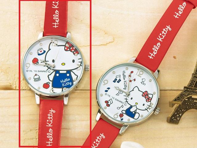 【真愛日本】15030500005 手錶-KT站姿蘋果 三麗鷗 Hello Kitty 凱蒂貓  飾品 日本景品 限量 售完為止