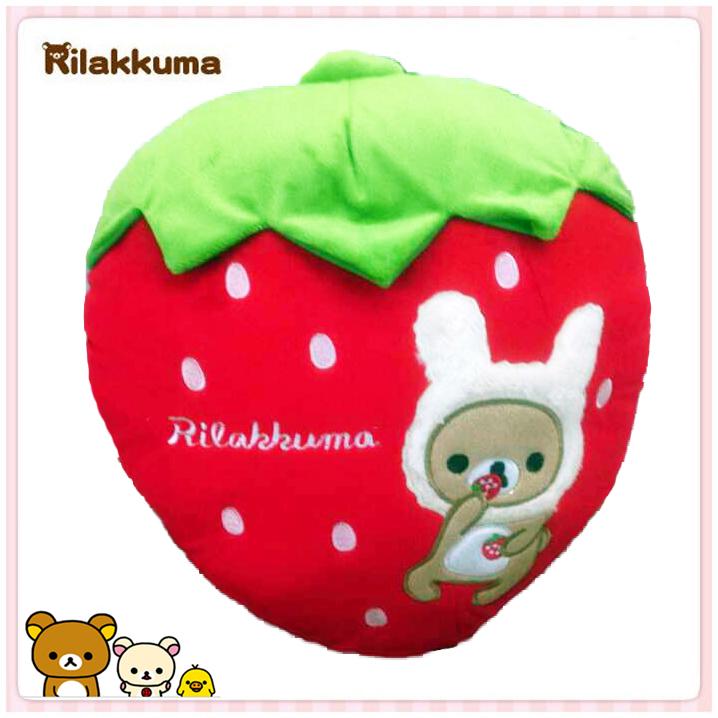 【真愛日本】15031600012 紅草莓抱枕-變裝懶熊 SAN-X 懶熊 奶妹 奶熊 靠枕 枕頭 午安枕 正品