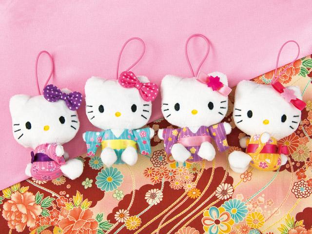 【真愛日本】15031800022 和風和服吊飾娃-紫結粉 三麗鷗 Hello Kitty 凱蒂貓  娃娃 玩偶 景品 正品 限量