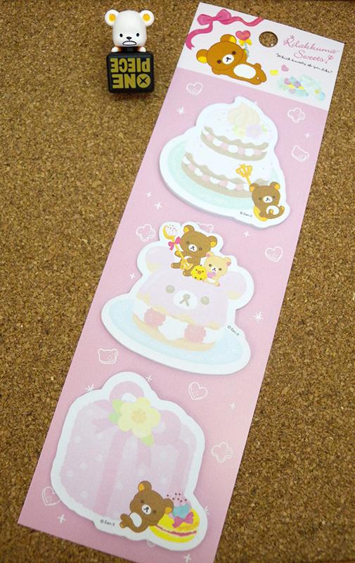 【真愛日本】15040200008 造形3入便利貼-蛋糕 SAN-X 懶熊 奶妹 奶熊 文具 便條紙 正品