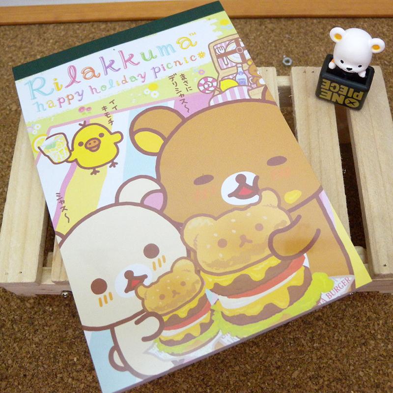【真愛日本】15040200016 大便條紙-懶熊吃漢堡 SAN-X 懶熊 奶妹 奶熊 文具 記事紙 正品 限量