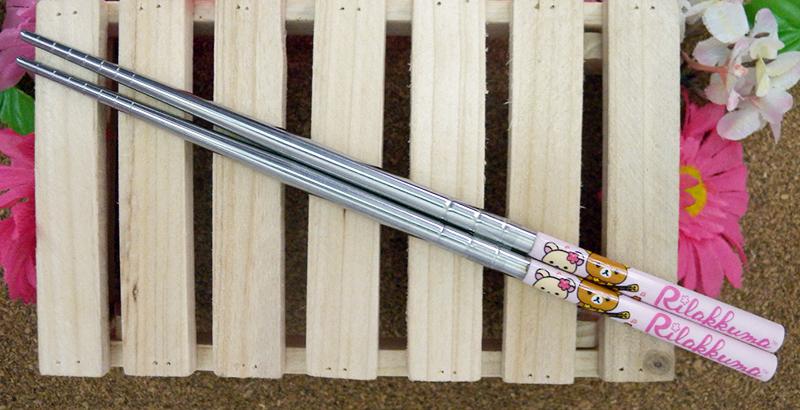 【真愛日本】15040200023 不鏽鋼筷子-懶熊阿囉哈 SAN-X 懶熊 奶妹 奶熊 餐具 正品 限量