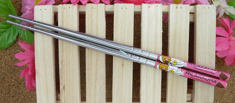 【真愛日本】15040200024 不鏽鋼筷子-懶熊巧克力 SAN-X 懶熊 奶妹 奶熊 餐具 正品