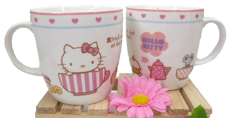 【真愛日本】15040300020 馬克杯-條紋咖啡杯 三麗鷗 Hello Kitty 凱蒂貓 杯子 水杯 茶杯 正品 限量