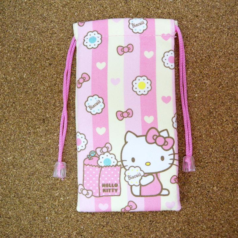 【真愛日本】15040900019 3C束口袋-KT午茶時光 三麗鷗 Hello Kitty 凱蒂貓  收納袋 正品 限量