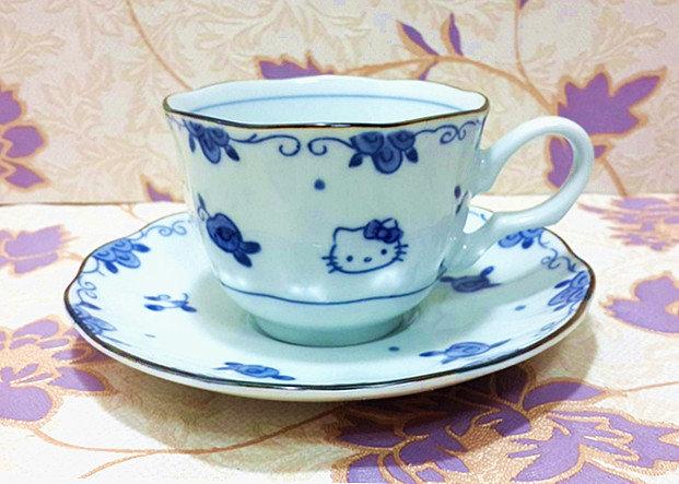 【真愛日本】15041100008青花瓷咖啡杯盤組-玫瑰 三麗鷗 Hello Kitty 凱蒂貓 餐具 茶具 正品 限量 預購