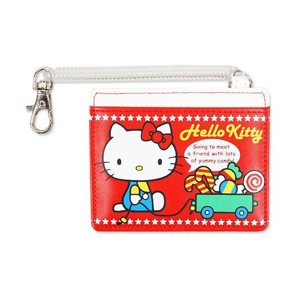 【真愛日本】15041800025 皮革彈繩票卡夾-糖果拉車紅 三麗鷗 Hello Kitty 凱蒂貓 收納夾 車票夾 證件夾 正品 限量 預購
