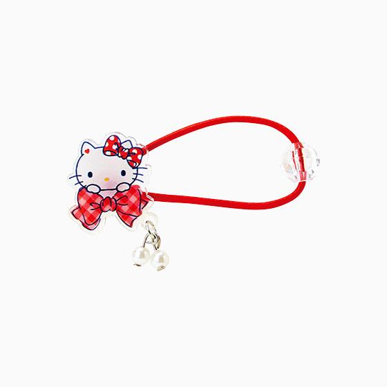 【真愛日本】15042900037 髮束-壓克力白珍珠緞帶紅 三麗鷗 Hello Kitty 凱蒂貓 飾品 髮飾 正品 限量