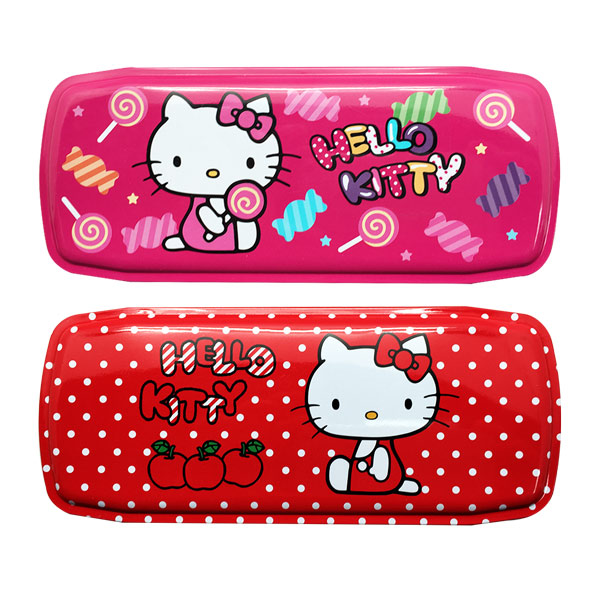 【真愛日本】15043000013 雙層寬鐵筆盒-蘋果紅 三麗鷗 Hello Kitty 凱蒂貓 文具 收納盒 正品 限量