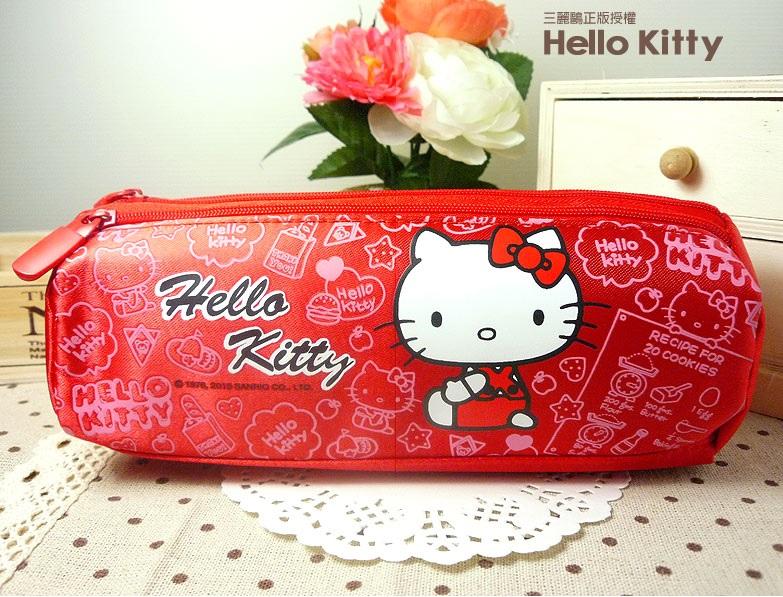 【真愛日本】15050500007 三層三角筆袋-KT紅 三麗鷗 Hello Kitty 凱蒂貓 收納袋 文具 正品 限量