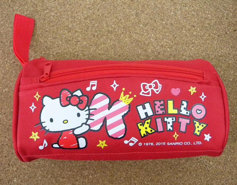 【真愛日本】15050800006 圓筒雙拉鍊布筆袋-KT塗鴉紅 三麗鷗 Hello Kitty 凱蒂貓 文具 收納袋 正品