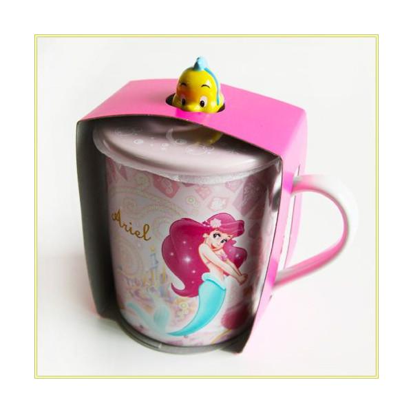 【真愛日本】15051600052 樂園馬克杯附蓋-艾莉兒粉  迪士尼 小美人魚 茶杯 水杯 杯子 正品 限量 預購