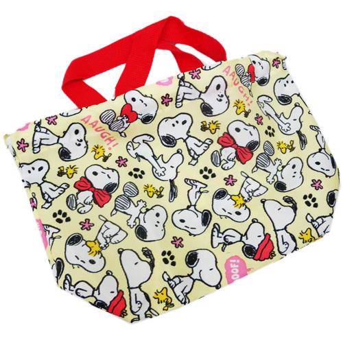 【真愛日本】15060400038  花布束口餐具袋-SN黃 史奴比 史努比 SNOOPY 手提袋 萬用袋 收納袋 正品 限量