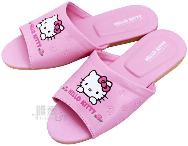 【唯愛日本】室內皮拖-玫瑰粉18/20/22(兒童) 三麗鷗 Hello Kitty 凱蒂貓 防滑拖鞋 脫鞋