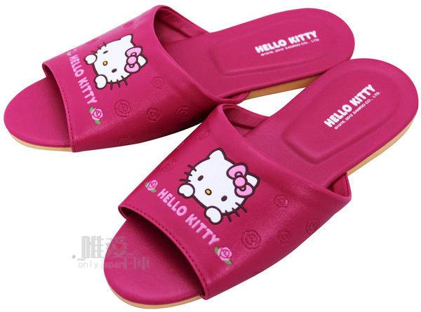 【唯愛日本】室內皮拖-玫瑰桃18/20/22 (兒童) 三麗鷗 Hello Kitty 凱蒂貓 防滑拖鞋 脫鞋