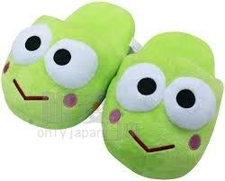 【唯愛日本】13111400015 大頭型室內絨布拖-大眼蛙 Keroppi 皮皮蛙 絨毛拖鞋 大頭拖鞋