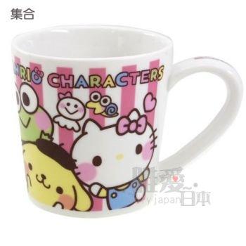 【唯愛日本】14010300014 馬克杯-滿版全人物 三麗鷗 Hello Kitty 凱蒂貓 咖啡杯 下午茶杯 正品