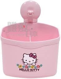 【唯愛日本】14010800023 吸盤雙格收納盒-小花 三麗鷗 Kitty 凱蒂貓 牙刷架 牙膏架 浴室用品