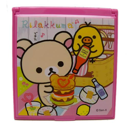 【唯愛日本】14030700081 小方鏡-拉拉熊漢堡B SAN-X 懶熊 奶妹 奶熊 化妝鏡 隨身鏡