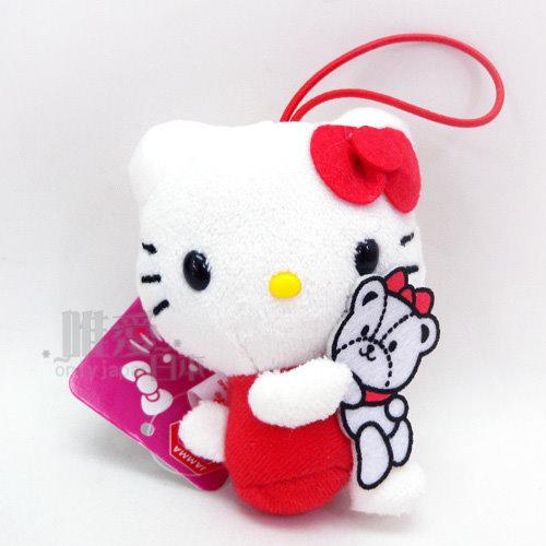 【唯愛日本】14032700026 40th吊飾娃-紅衣坐姿 三麗鷗 Hello Kitty 凱蒂貓 鎖圈 鑰匙圈 景品