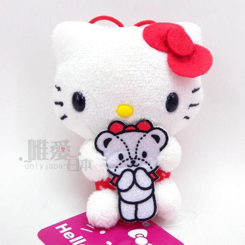 【唯愛日本】14032700028 40th吊飾娃-紅衣白點 三麗鷗 Hello Kitty 凱蒂貓 鎖圈 鑰匙圈 景品