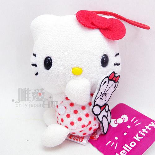 【唯愛日本】14032700029 40th吊飾娃-白衣紅點 三麗鷗 Hello Kitty 凱蒂貓 鎖圈 鑰匙圈 景品