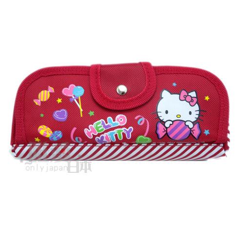 【唯愛日本】14050800010 三角雙拉筆袋-糖果紅 三麗鷗 Hello Kitty 凱蒂貓 鉛筆盒 收納包