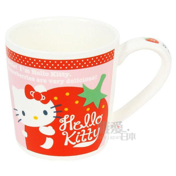 【唯愛日本】14051400008 馬克杯-抱草莓粉 三麗鷗 Hello Kitty 凱蒂貓 咖啡杯 下午茶杯