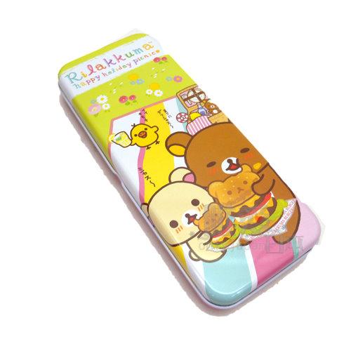 【唯愛日本】14051300006 寬雙層鐵筆盒-漢堡粉 SAN-X 拉拉熊 懶熊 奶妹 奶熊 鉛筆盒 鐵盒