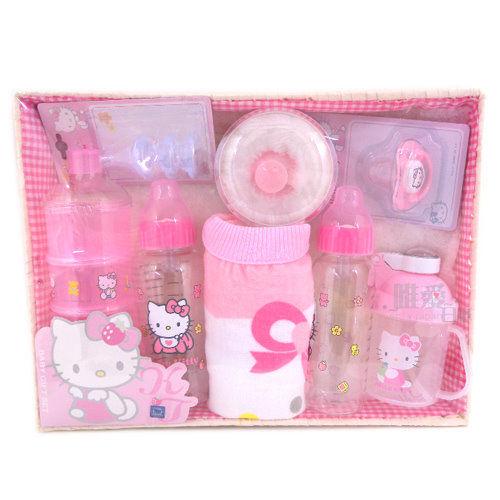【真愛日本】7071100001 三麗鷗Hello Kitty 凱蒂貓 編織籃嬰幼兒禮盒組 幼兒嬰兒配件 台灣製造