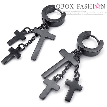 《QBOX 》FASHION 飾品【W10024767】精緻個性三吊墬十字架316L鈦鋼針式耳環(黑)