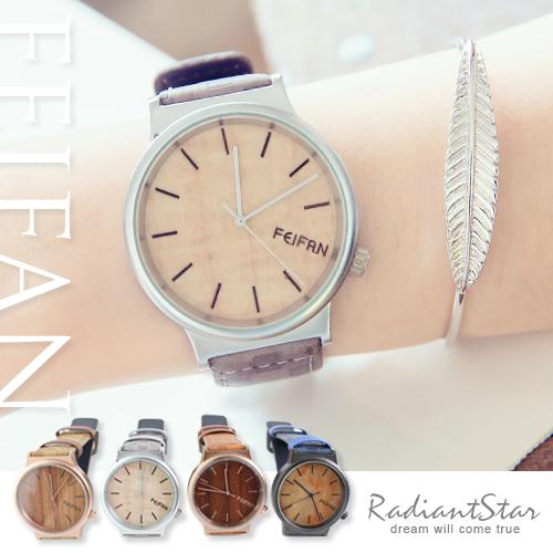 香港FEIFAN驟雨清新仿原木紋皮革手錶對錶【WFE62085G-4】璀璨之星☆