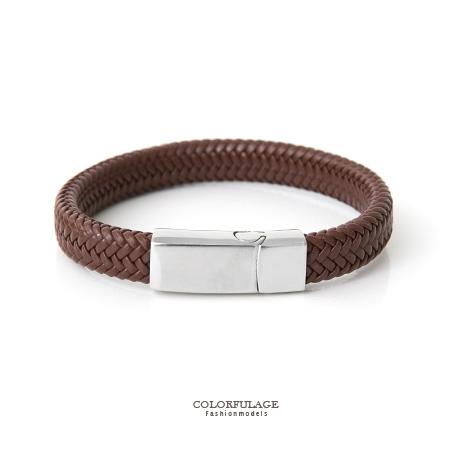 手環 素面厚實寬版皮革個性手鍊 品味深咖啡色 白鋼磁釦側開口 柒彩年代【NA362】俐落帥氣