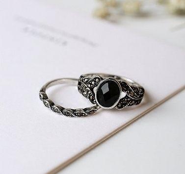 PS Mall 韓版復古新品仿黑瑪瑙戒指 鑲鑽細麻花2件套戒指女指環時尚復古【G2087】