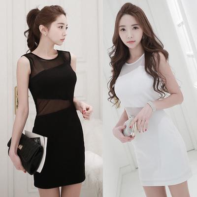 PS Mall 韓版無袖薄紗收腰緊身包臀連身裙 連身洋裝【T1080】