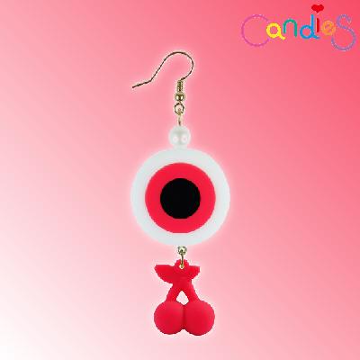 【Candies】花花女孩眼球櫻桃耳環(紅)