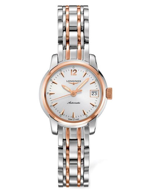 LONGINES L22635727聖米爾雙色玫瑰金經典機械腕錶/白面26mm