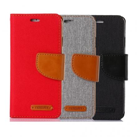 Mercury Samsung Note 5 韓風雙色牛仔紋 側掀磁扣支架式皮套 矽膠軟殼 紅灰黑色